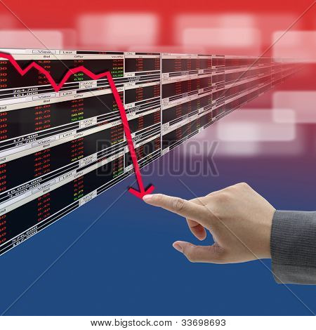hand push on decrease graph of Stock market