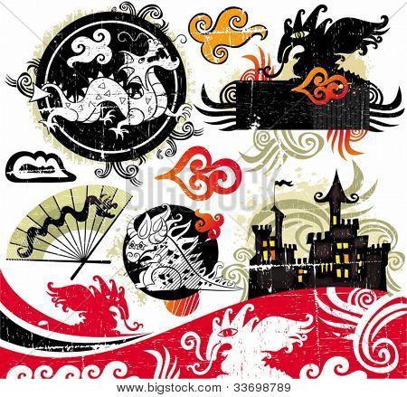 Dragons grunge design elements