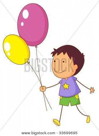 Illustration of a kid holding balloons - EPS VECTOR format also available in my portfolio.