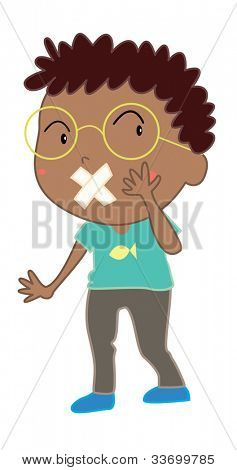 Illustration of boy with mouth covered - EPS VECTOR format also available in my portfolio.