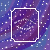 Holiday Card For New Year And Christmas. Starry Sky In Winter, Blizzard And Snowflakes. Art Frame Fo poster