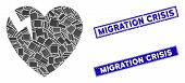 Mosaic Heart Crack Icon And Rectangle Migration Crisis Stamps. Flat Vector Heart Crack Mosaic Icon O poster