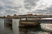 Copenhagen, Denmark: Beautiful Panoramic View From The Waterfront To The Buildings And The River. poster
