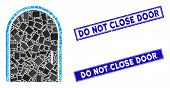 Mosaic Door Icon And Rectangle Do Not Close Door Stamps. Flat Vector Door Mosaic Icon Of Scattered R poster