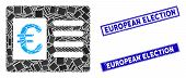 Mosaic Euro Bank Account Icon And Rectangular European Election Rubber Prints. Flat Vector Euro Bank poster