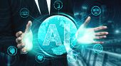 Ai Learning And Artificial Intelligence Concept. poster