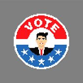 Button Presidential Candidate Pixel Art. Usa Elections Illustration 8 Bit. Need Your Vote. Political poster