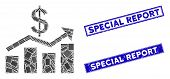 Mosaic Sales Chart Pictogram And Rectangle Special Report Watermarks. Flat Vector Sales Chart Mosaic poster