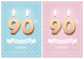 Burning Number 90 Birthday Candles With Vintage Ribbon And Birthday Celebration Text On Textured Blu poster