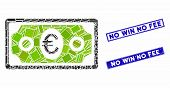 Mosaic Euro Banknote Pictogram And Rectangular No Win No Fee Seal Stamps. Flat Vector Euro Banknote  poster