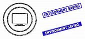 Mosaic Computer Environment Icon And Rectangle Environment Saving Rubber Prints. Flat Vector Compute poster