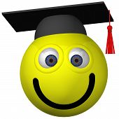 stock photo of smiley face  - Adorable smiley wearing a graduation cap isolated on white - JPG