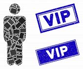 Mosaic Man Icon And Rectangle Vip Watermarks. Flat Vector Man Mosaic Icon Of Scattered Rotated Recta poster