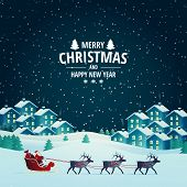 Vector Illustration On The Theme Of Christmas And New Year. Night Winter Landscape. Santa Claus Pres poster