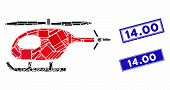 Mosaic Helicopter Pictogram And Rectangular 14.00 Stamps. Flat Vector Helicopter Mosaic Pictogram Of poster