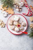 Christmas Sweet Candies On The Dessert Table . Balls Of Biscuit With Cherry - Loli Pop Or Cake Pop.  poster