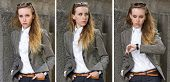 foto of triptych  - Triptych of portraits young sad pretty woman near the gray stone wall - JPG