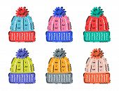 Woolen Knitted Hats Clipart, Design Elements Set. Warm Clothes. Winter Flat Vector Illustration. poster