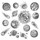 Solar System Planets In Universe Outer Space, Vector Pencil Sketch Icons. Solar System Planets Sun,  poster