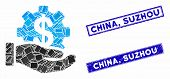 Mosaic Payment Service Hand Pictogram And Rectangle China, Suzhou Stamps. Flat Vector Payment Servic poster