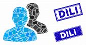 Mosaic User Accounts Icon And Rectangle Dili Seals. Flat Vector User Accounts Mosaic Icon Of Randomi poster