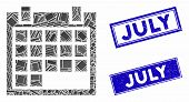 Mosaic Calendar Pictogram And Rectangle July Seal Stamps. Flat Vector Calendar Mosaic Pictogram Of R poster