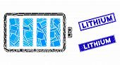 Mosaic Battery Pictogram And Rectangular Lithium Seal Stamps. Flat Vector Battery Mosaic Pictogram O poster