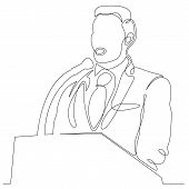 Continuous One Single Line Drawn Character Politics Of Business Coach Speaking Before Audience. Poli poster