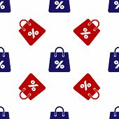 Blue And Red Shoping Bag With An Inscription Percent Discount Icon Isolated Seamless Pattern On Whit poster