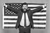 The Patriotic Spirit. Patriotic Man Holding American Flag On Independence Day. Bearded Businessman B poster