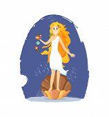 Ancient Greek Mythological Goddess Aphrodite Vector Cartoon Illustration poster