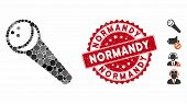 Mosaic Recording Microphone Icon And Rubber Stamp Seal With Normandy Phrase. Mosaic Vector Is Compos poster