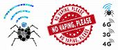 Mosaic Radio Spy Bug Icon And Corroded Stamp Seal With No Vaping, Please Phrase. Mosaic Vector Is Fo poster