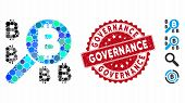 Collage Bitcoin Search Icon And Distressed Stamp Seal With Governance Text. Mosaic Vector Is Compose poster