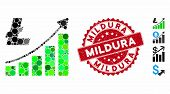 Mosaic Litecoin Growth Trend Icon And Grunge Stamp Seal With Mildura Caption. Mosaic Vector Is Creat poster