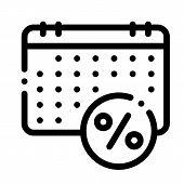 Salary Calendar Schedule Icon Vector. Outline Salary Calendar Schedule Sign. Isolated Contour Symbol poster