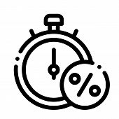 Time Is Interest Icon Vector. Outline Time Is Interest Sign. Isolated Contour Symbol Illustration poster