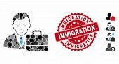 Mosaic Accounter Icon And Rubber Stamp Watermark With Immigration Phrase. Mosaic Vector Is Composed  poster