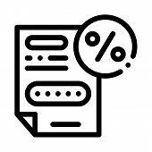 Bonus Percentage Document Icon Vector. Outline Bonus Percentage Document Sign. Isolated Contour Symb poster