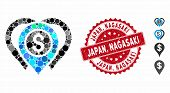 Mosaic Dollar Map Markers Icon And Corroded Stamp Watermark With Japan, Nagasaki Caption. Mosaic Vec poster