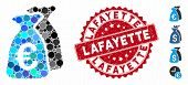 Mosaic Euro Funds Icon And Corroded Stamp Seal With Lafayette Caption. Mosaic Vector Is Created From poster