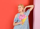 Young Woman Holds Flower Bouquet. Beautiful Girl In Trendy Dress With Flowers In Hands. Sexy Woman W poster
