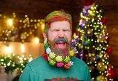 Decorated Beard. Cheerful Bearded Man With Decorated Beard. New Year Party. Bearded Man With Decorat poster