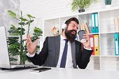 I Want To Break Free. Office Singer. Bearded Man Sing Song At Workplace. Businessman Pretend Singing poster