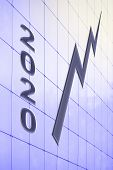 Chart, Growth Graph On The Wall Of An Office Building And The Number 2020 On The Background. The Con poster