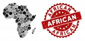 Mosaic Africa Map And Circle Seal Stamp. Flat Vector Africa Map Mosaic Of Random Circle Items. Red R poster