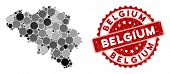 Mosaic Belgium Map And Circle Seal. Flat Vector Belgium Map Mosaic Of Randomized Circle Items. Red S poster