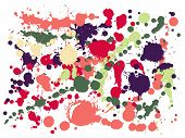 Graffiti Spray Stains Grunge Background Vector. Colored Ink Splatter, Spray Blots, Mud Spot Elements poster