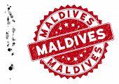 Mosaic Maldives Map And Circle Watermark. Flat Vector Maldives Map Mosaic Of Random Spheric Items. R poster