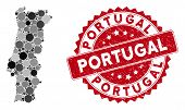 Mosaic Portugal Map And Circle Stamp. Flat Vector Portugal Map Mosaic Of Random Circle Elements. Red poster